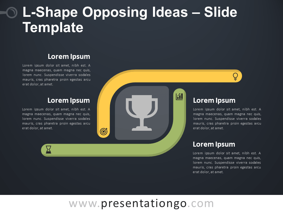 Free L-Shape Opposing Ideas Diagram for PowerPoint