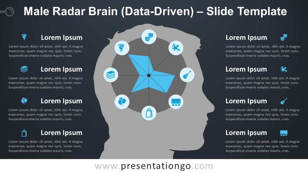 Free Male Radar Brain Diagram for PowerPoint and Google Slides