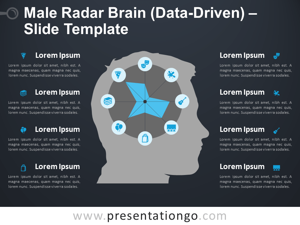 Free Male Radar Brain Diagram for PowerPoint