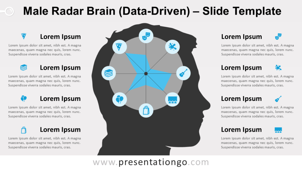 Free Male Radar Brain Infographics Diagram for PowerPoint and Google Slides
