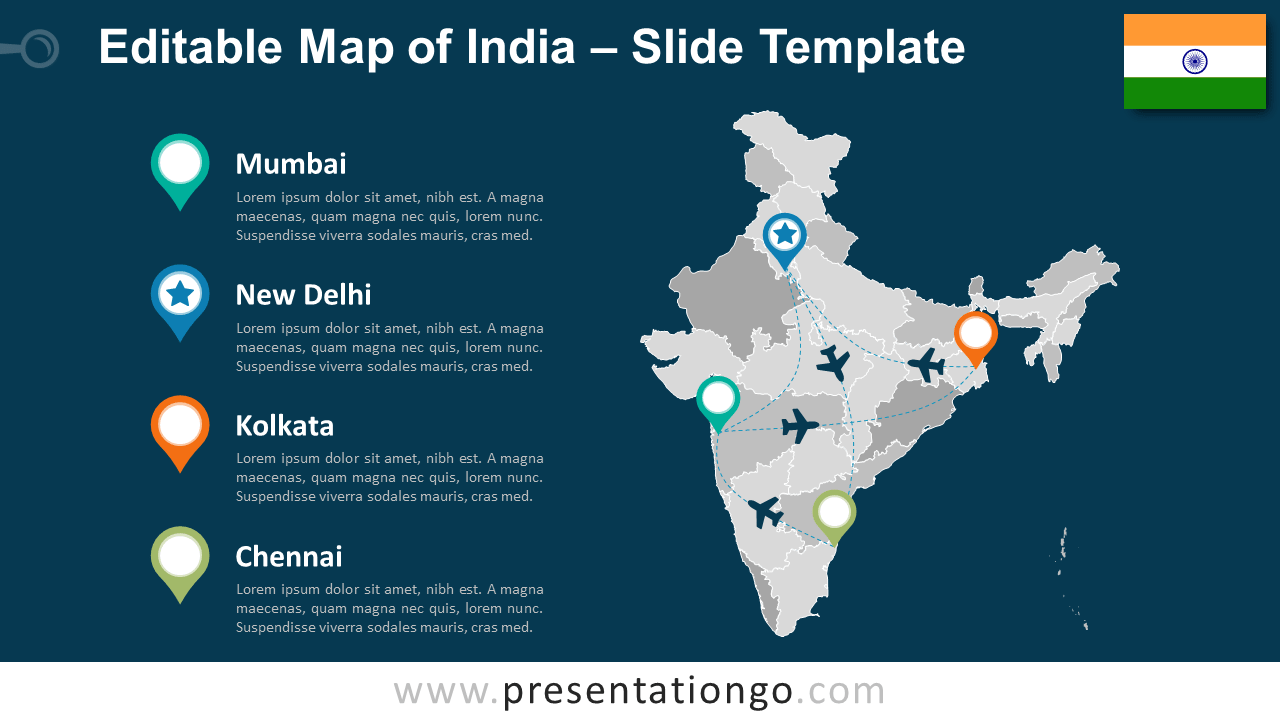 Map of India for PowerPoint and Google Slides