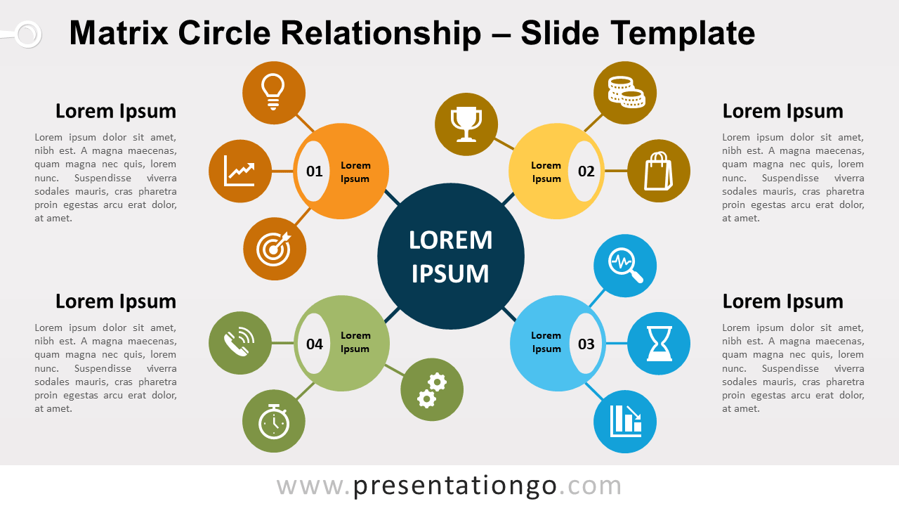 Free Matrix Circle Relationship for PowerPoint and Google Slides