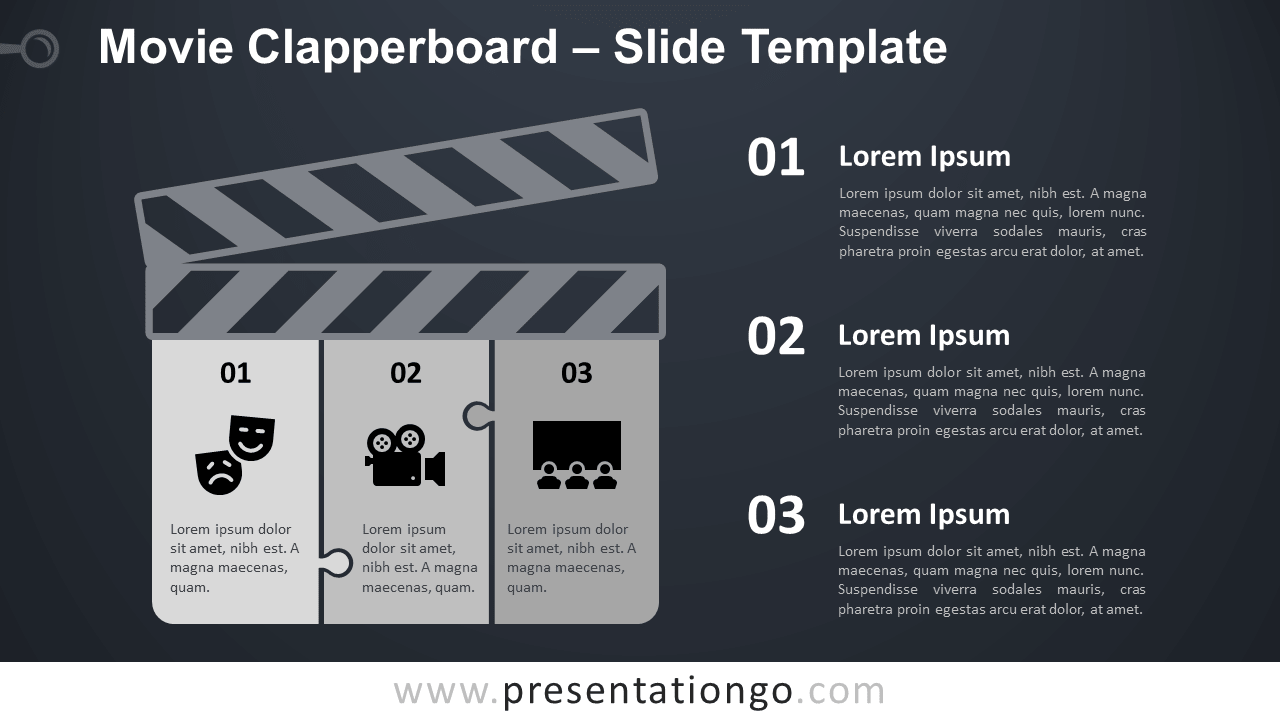 Free Movie Clapperboard Infographics for PowerPoint and Google Slides