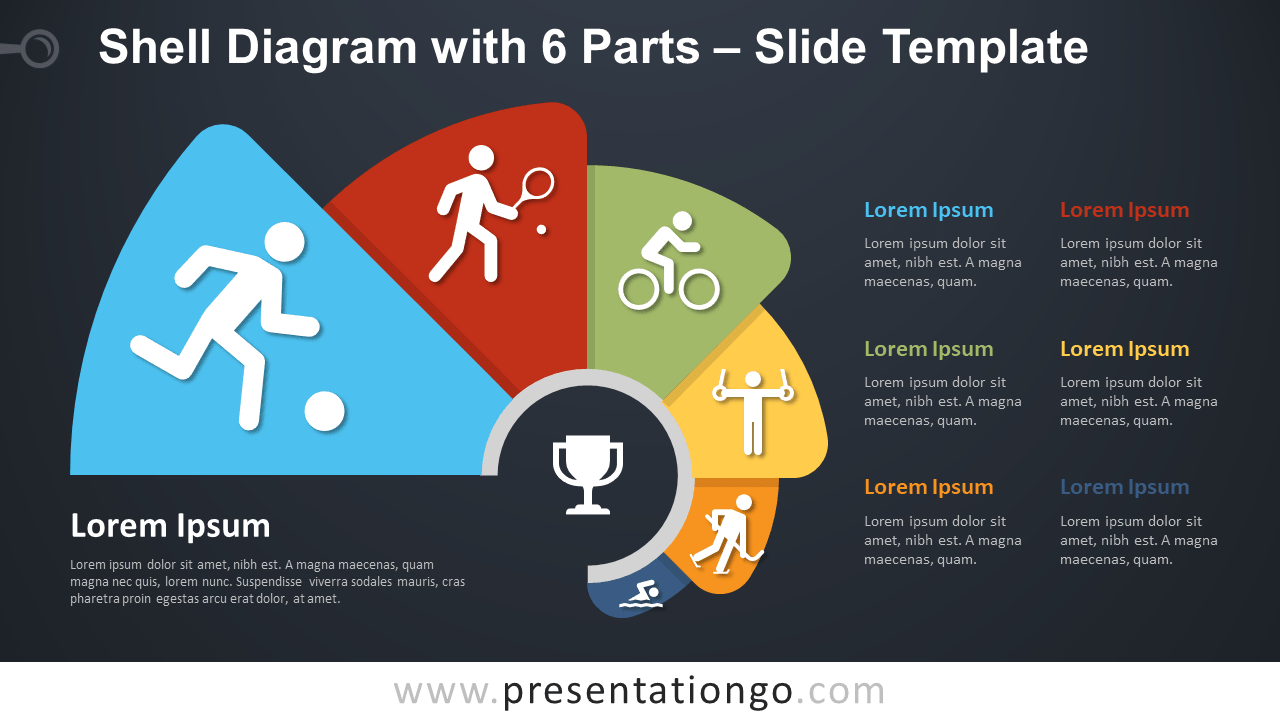 Free Shell Diagram with 6 Parts Infographics for PowerPoint and Google Slides