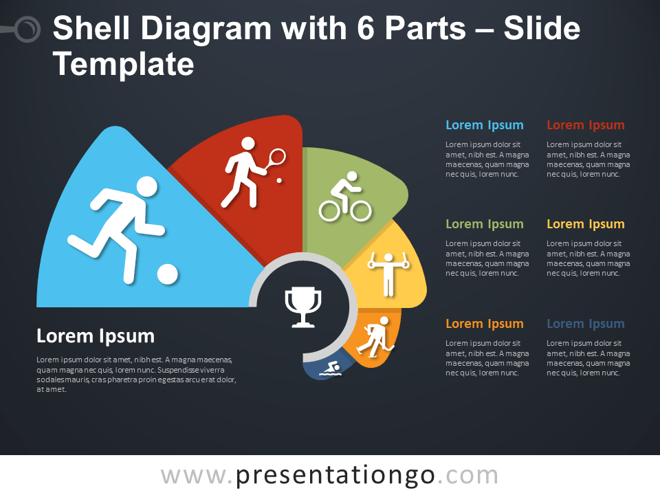 Free Shell Diagram with 6 Parts Infographics for PowerPoint