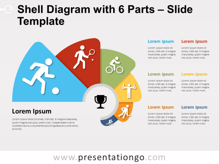Free Shell Diagram with 6 Parts for PowerPoint