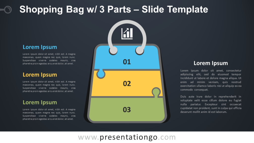 Free Shopping Bag with 3 Parts Infographic for PowerPoint and Google Slides