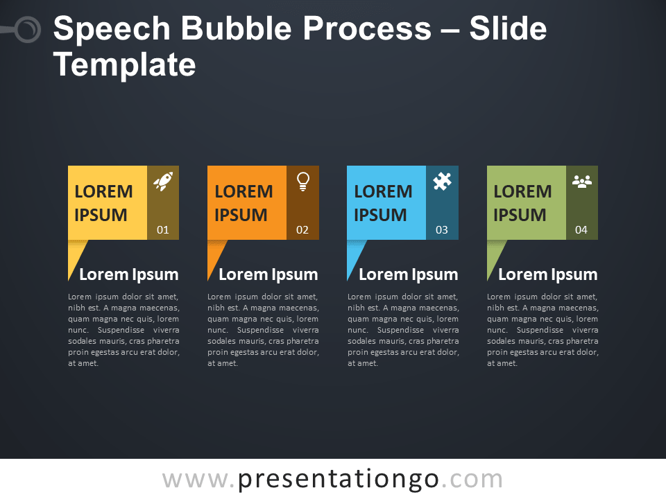 Free Speech Bubble Process Diagram for PowerPoint