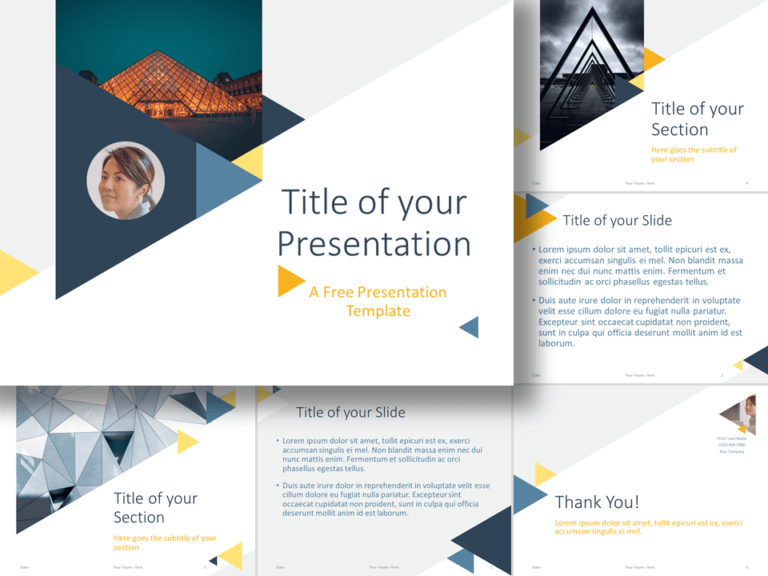 Free Triangle Modern Template for Google Slides and PowerPoint