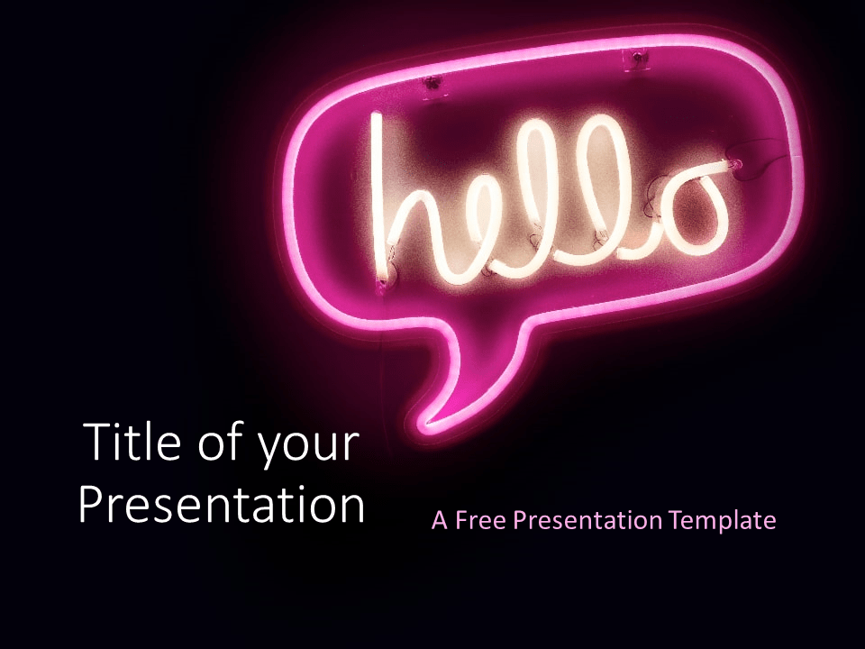 Free NEON SIGNS Template for PowerPoint - Cover Slide