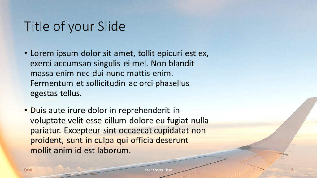 Free Airplane Window Views Template for Google Slides – Title and Content Slide (Variant 1)