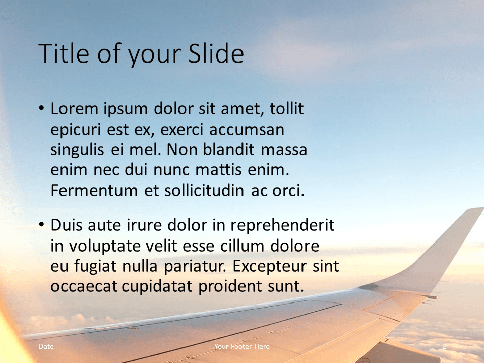 Free Airplane Window Views Template for PowerPoint – Title and Content Slide (Variant 1)