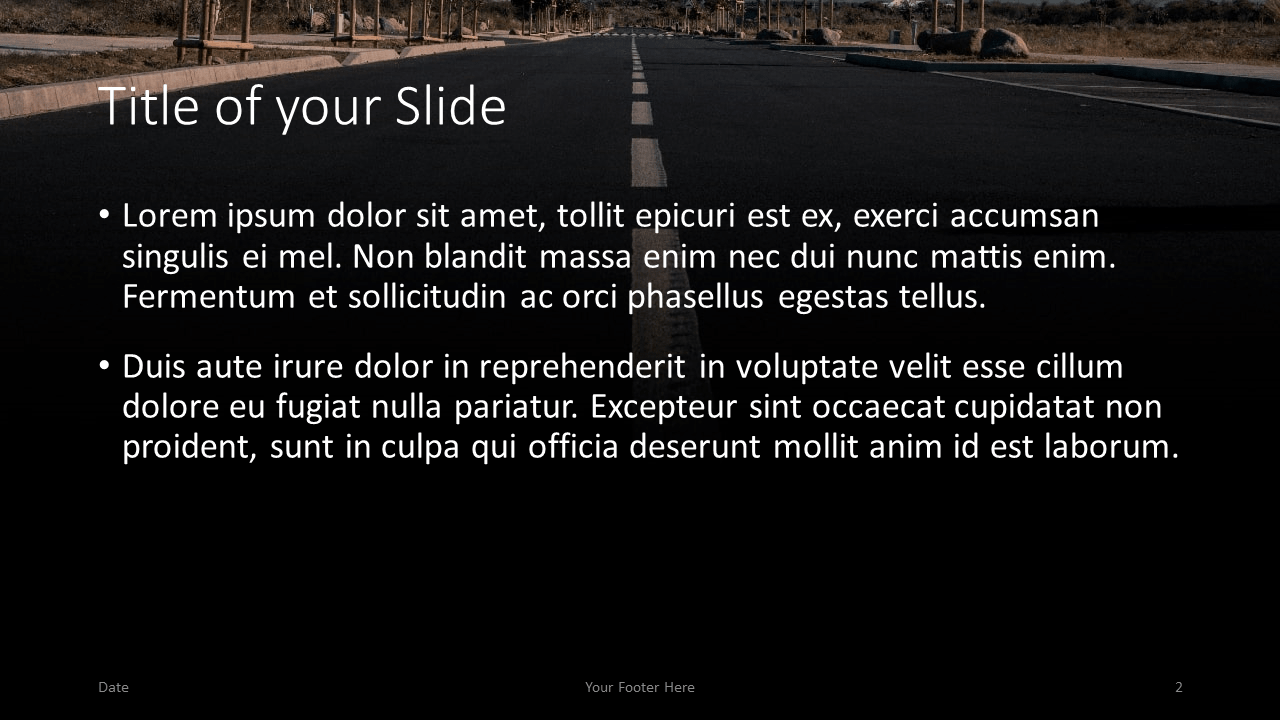 Free DARK ROADS Template for Google Slides – Title and Content Slide (Variant 1)