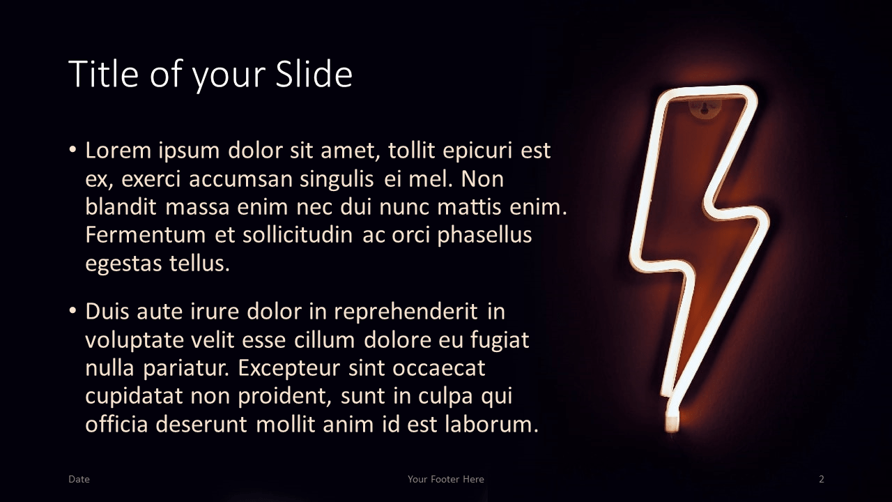 Free NEON SIGNS Template for Google Slides – Title and Content Slide (Variant 1)