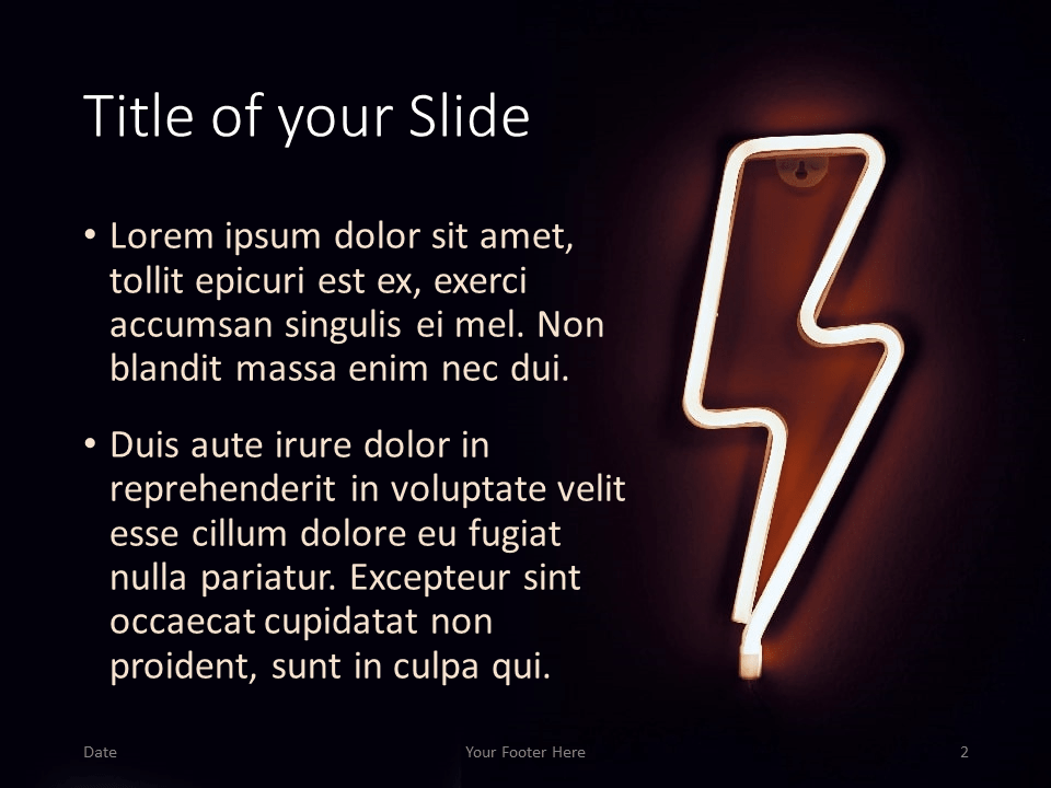 Free NEON SIGNS Template for PowerPoint – Title and Content Slide (Variant 1)