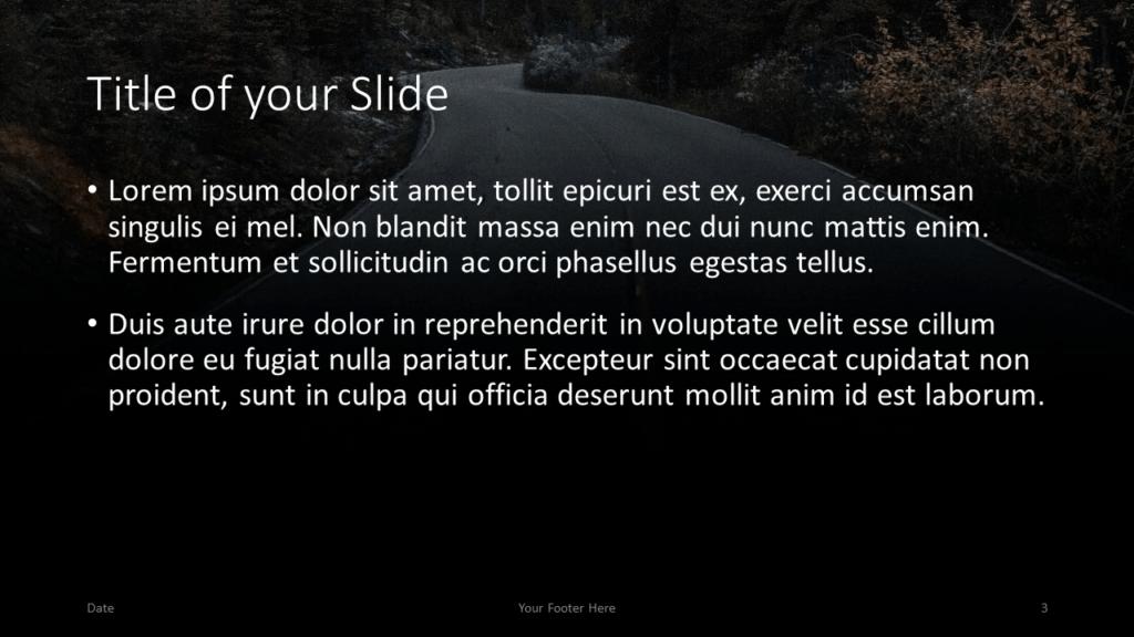 Free DARK ROADS Template for Google Slides – Title and Content Slide (Variant 2)