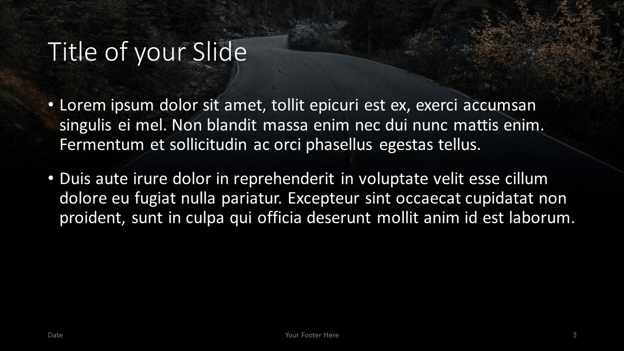 Free DARK ROADS Template for Google Slides – Title and Content Slide (Variant 2)