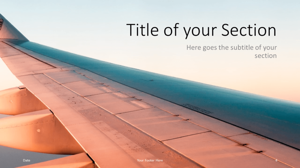 Free Airplane Window Views Template for Google Slides – Section Slide (Variant 1)