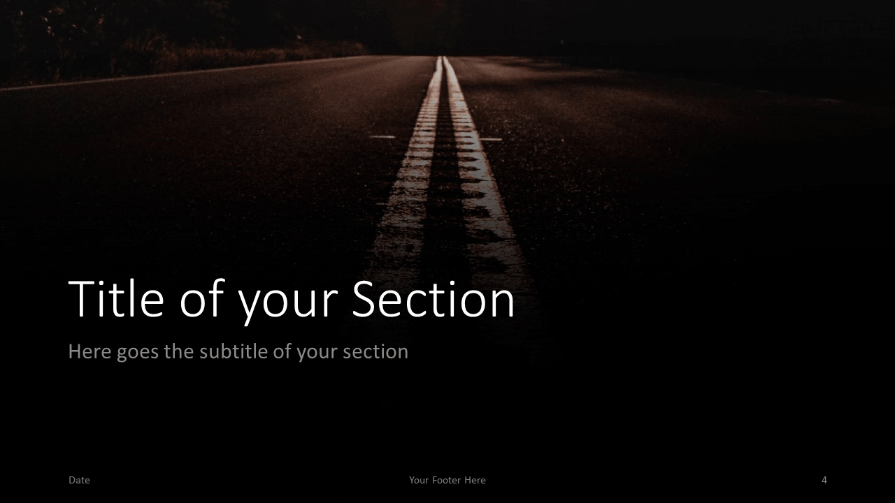 Free DARK ROADS Template for Google Slides – Section Slide (Variant 1)