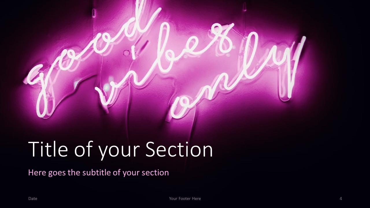 Free NEON SIGNS Template for Google Slides – Section Slide (Variant 1)