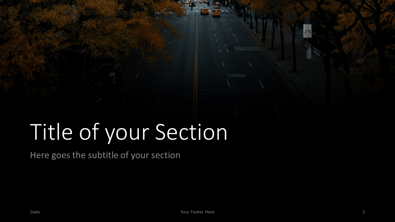 Free DARK ROADS Template for Google Slides – Section Slide (Variant 2)