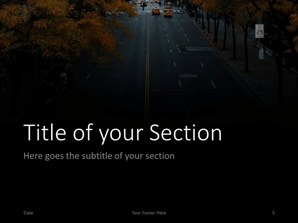 Free DARK ROADS Template for PowerPoint – Section Slide (Variant 2)
