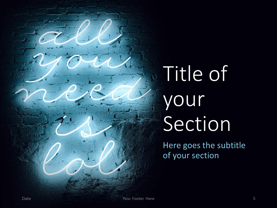 Free NEON SIGNS Template for PowerPoint – Section Slide (Variant 2)