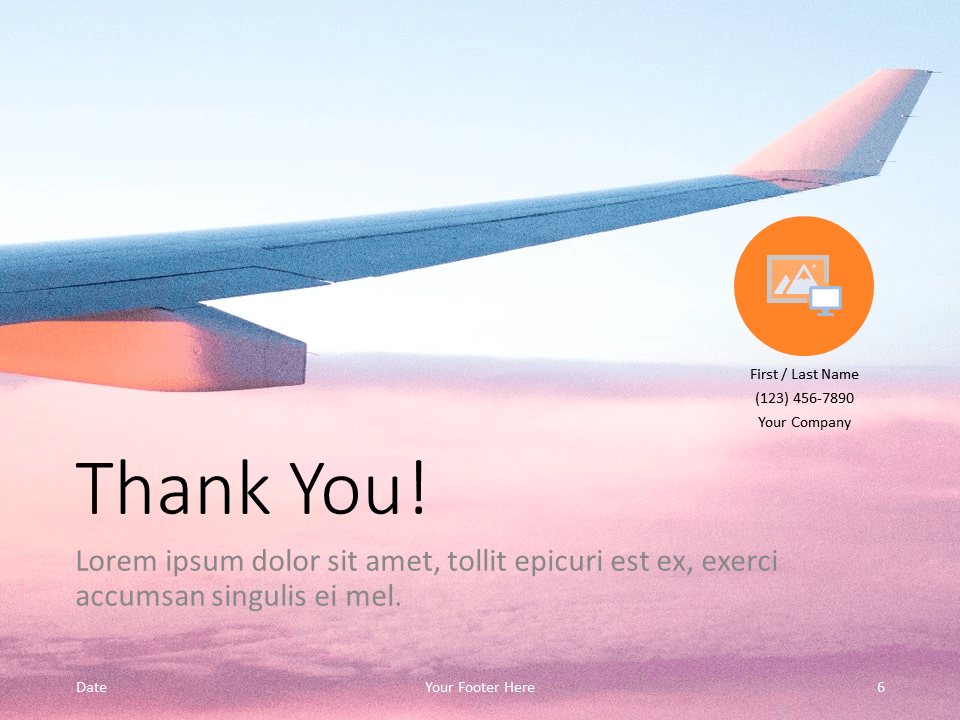 Free Airplane Window Views Template for PowerPoint - Closing / Thank you