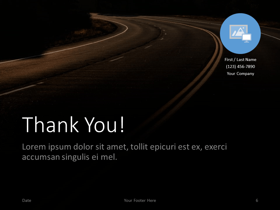 Free DARK ROADS Template for PowerPoint - Closing / Thank you