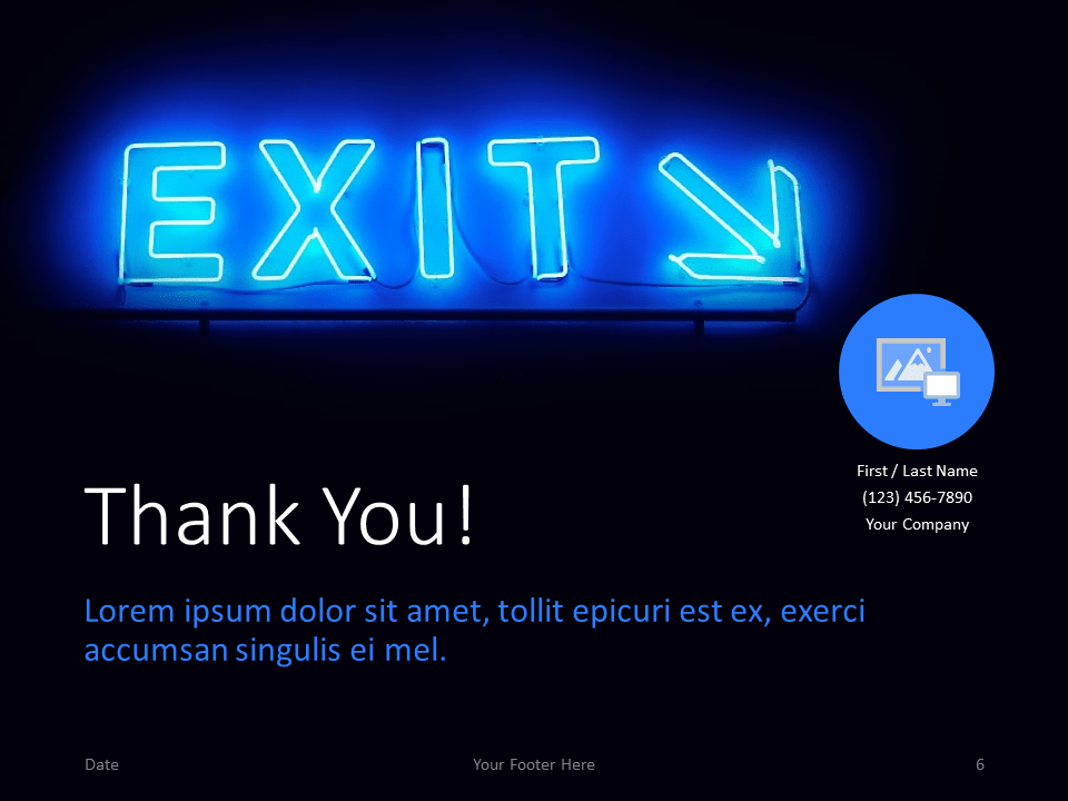 Free NEON SIGNS Template for PowerPoint - Closing / Thank you