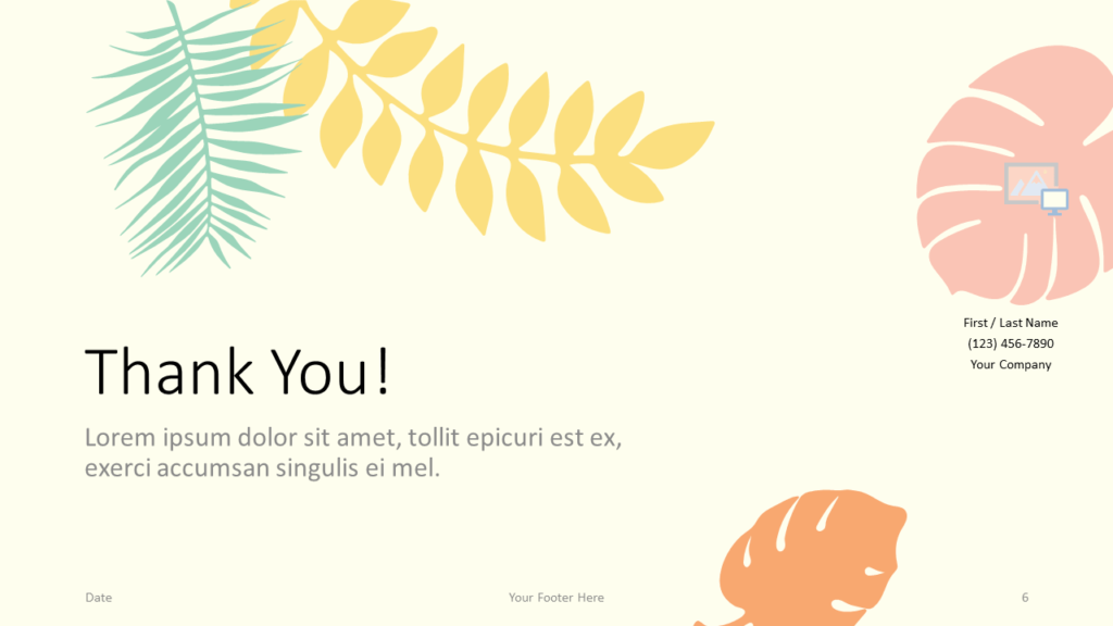 Free PASTEL LEAVES Template for Google Slides - Closing / Thank you