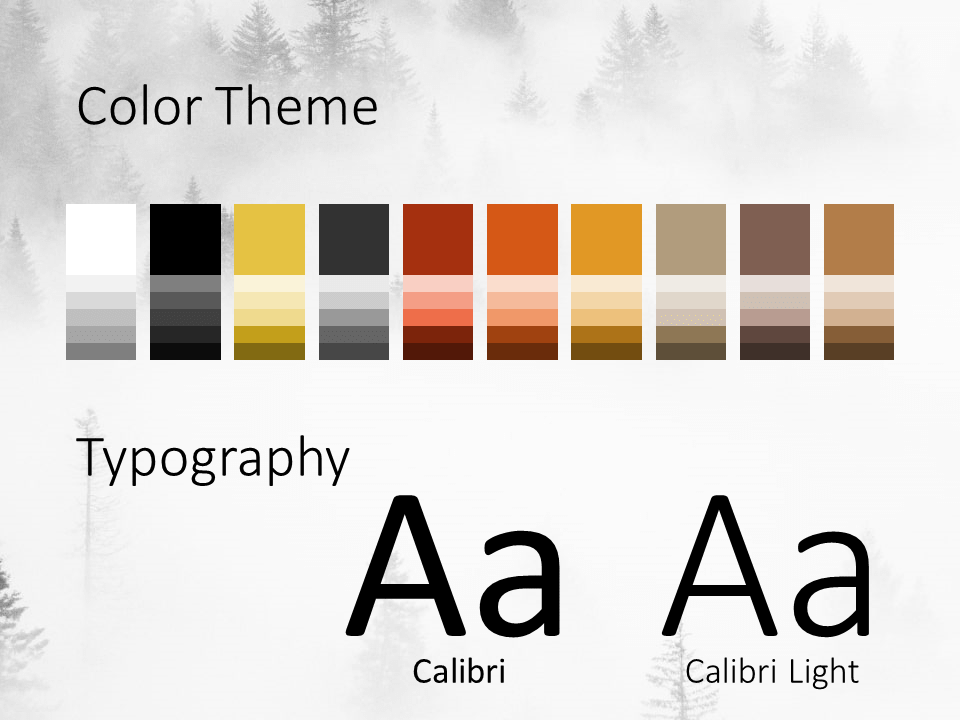 Free Foggy Forest Template for PowerPoint – Colors and Fonts