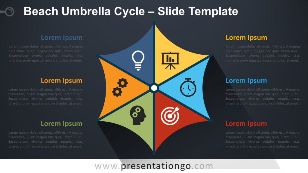 Free Beach Umbrella Cycle Infographics for PowerPoint and Google Slides