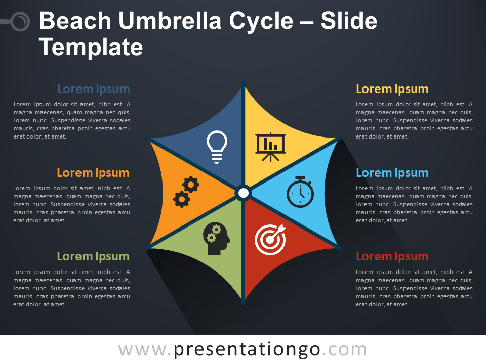 Free Beach Umbrella Cycle Infographics for PowerPoint