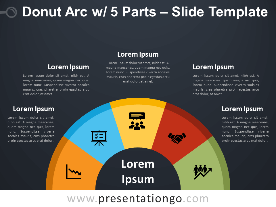 Free Donut Arc with 5 Parts Diagram for PowerPoint