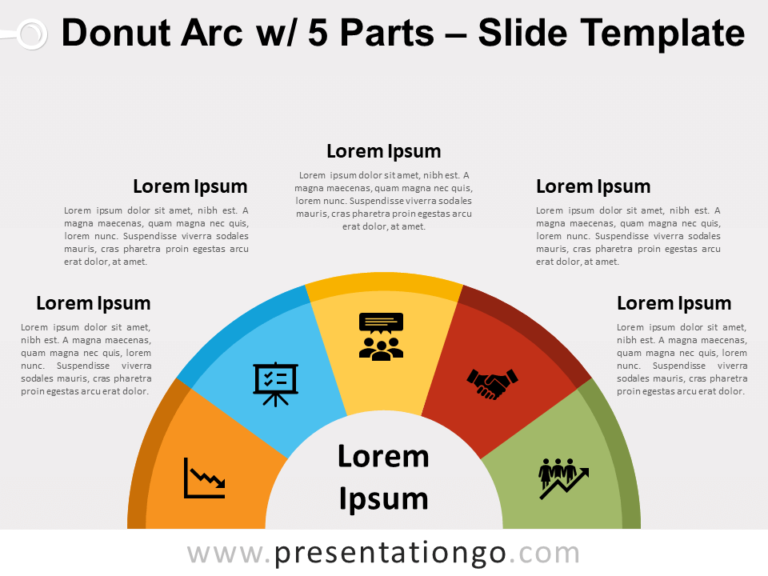 Free Donut Arc with 5 Parts for PowerPoint