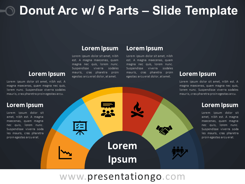Free Donut Arc with 6 Parts Diagram for PowerPoint