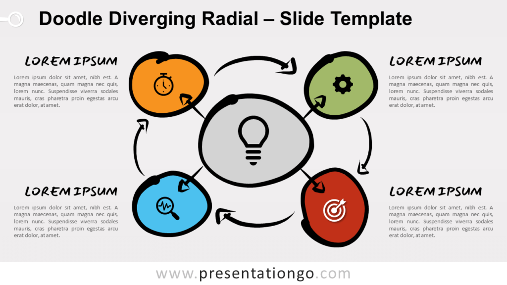 Free Doodle Diverging Radial Diagram for PowerPoint and Google Slides