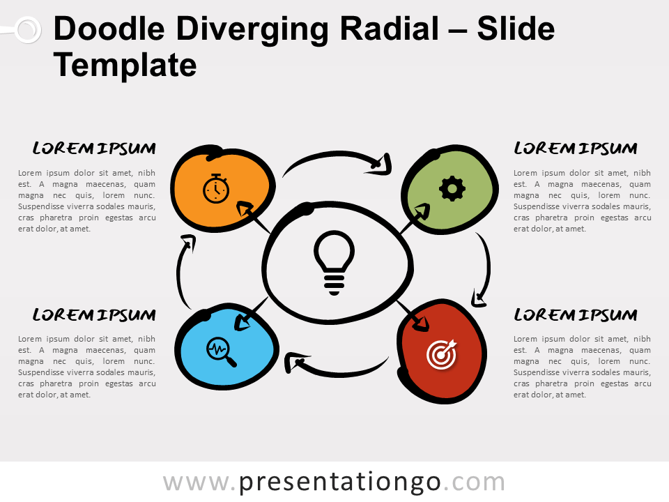 Free Doodle Diverging Radial Diagram for PowerPoint
