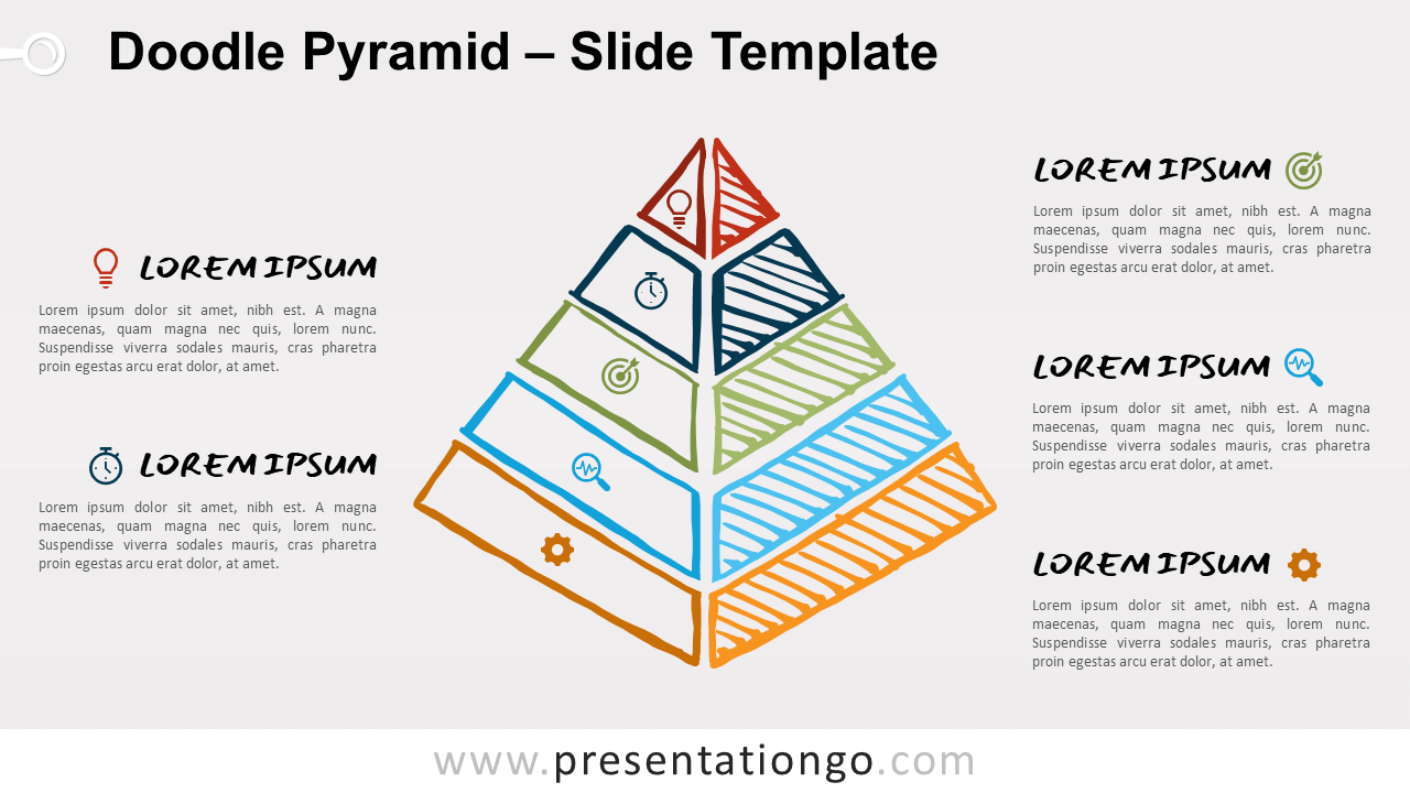 Free Doodle Pyramid Diagram for PowerPoint and Google Slides