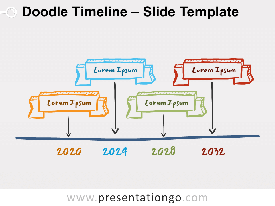 Free Doodle Timeline Diagram for PowerPoint