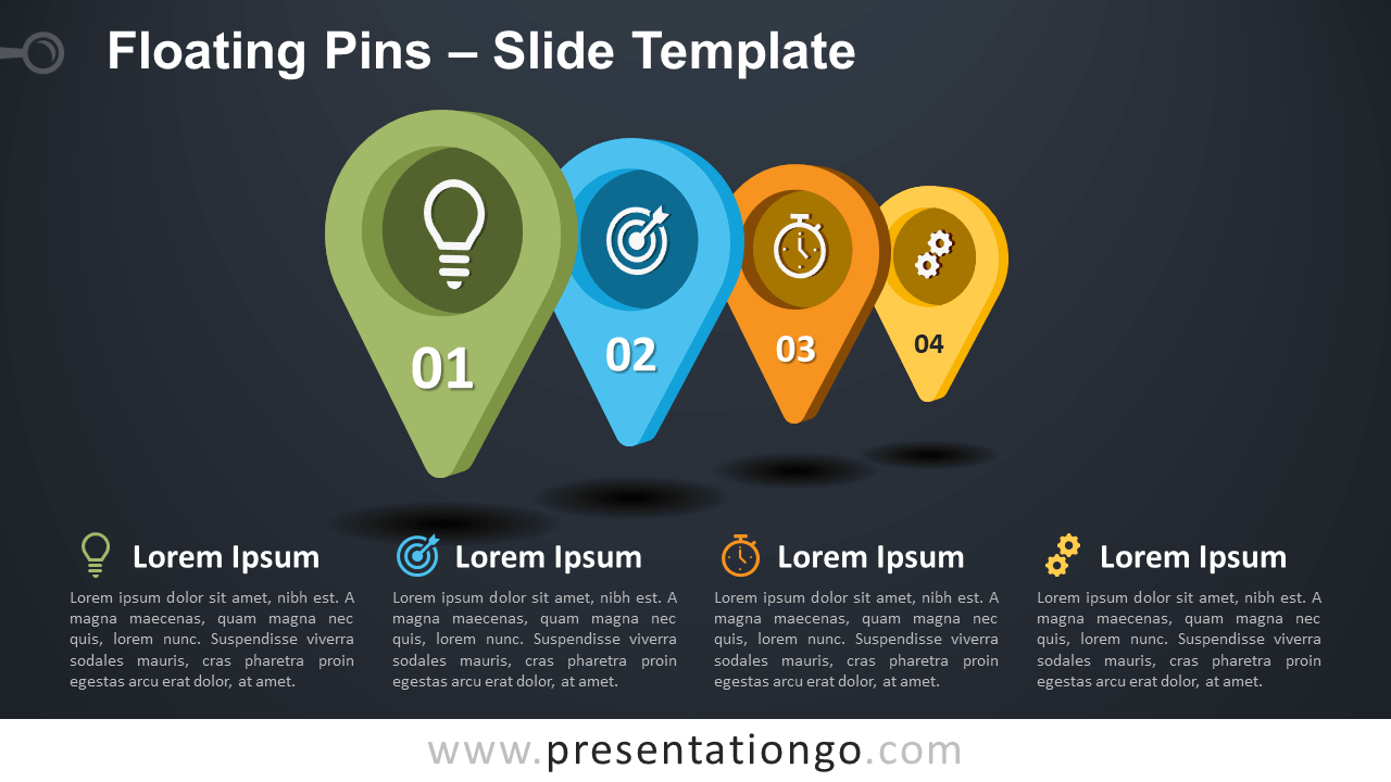 Free Floating Pins Infographic for PowerPoint and Google Slides