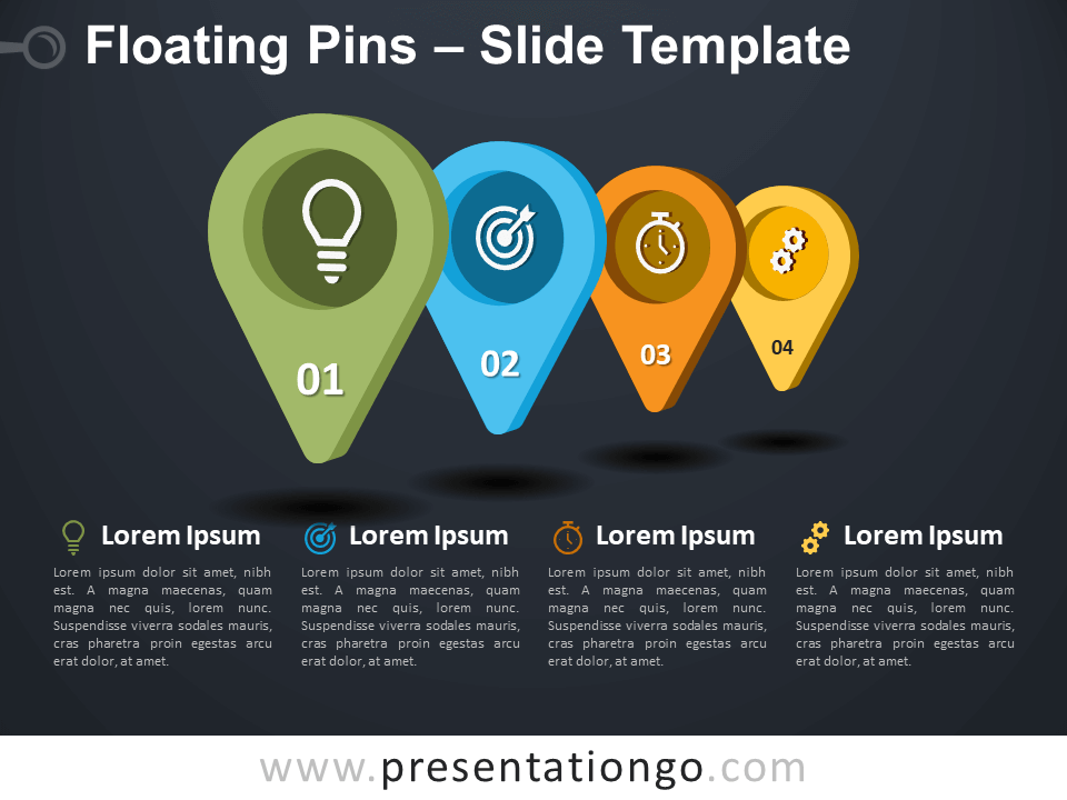 Free Floating Pins Infographic for PowerPoint