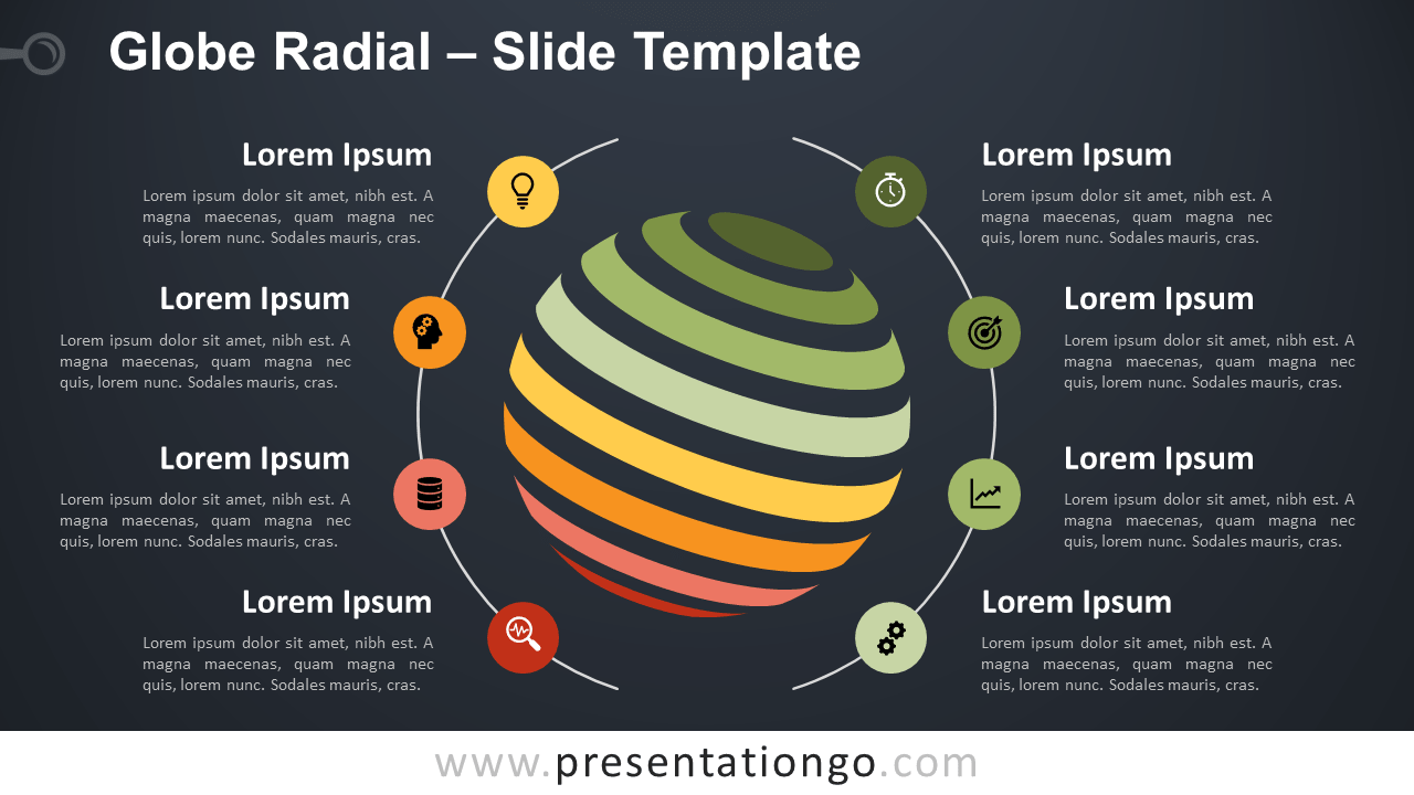 Free Globe Radial Infographics for PowerPoint and Google Slides