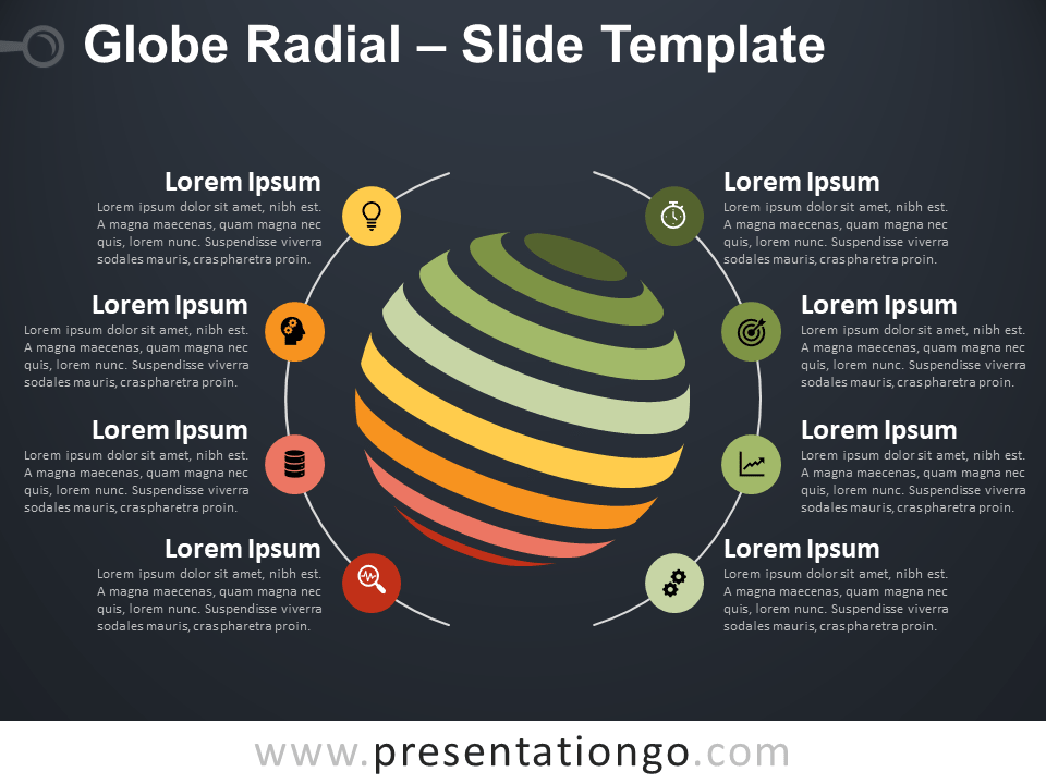 Free Globe Radial Infographics for PowerPoint