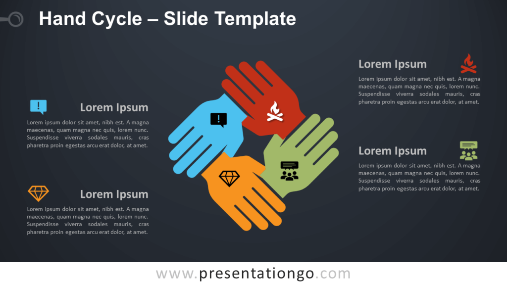Free Hand Cycle Diagram for PowerPoint and Google Slides