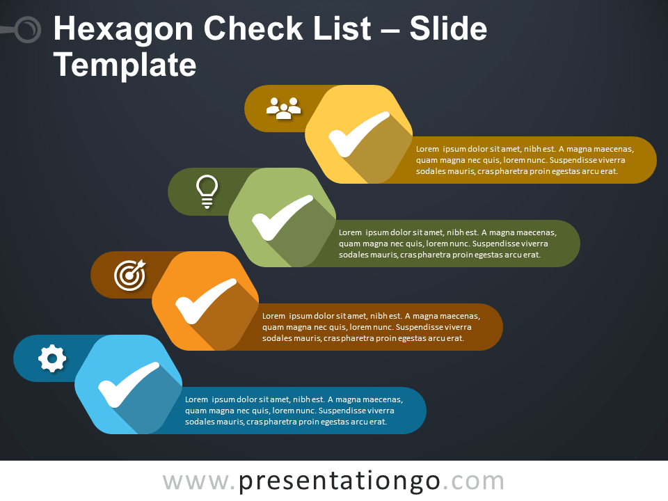 Free Hexagon Check List for Google Slides and PowerPoint