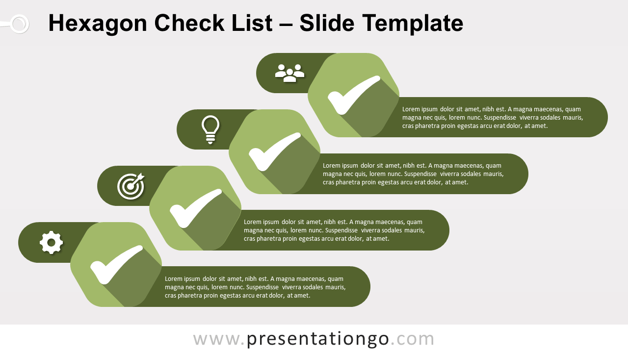 Free Hexagon Check List Infographics for PowerPoint and Google Slides