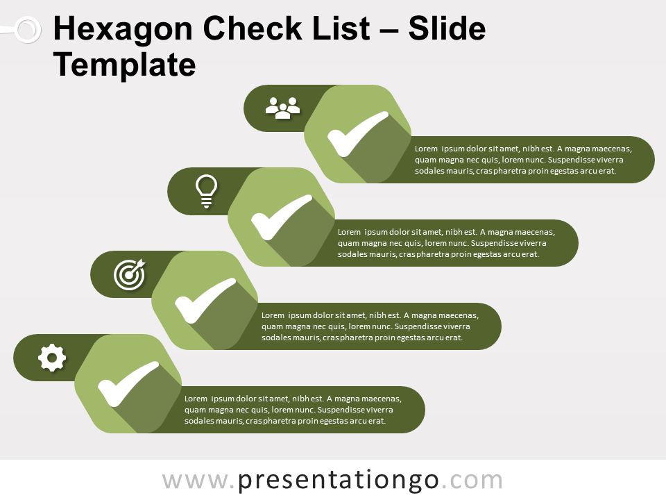 Free Hexagon Check List Infographics for PowerPoint