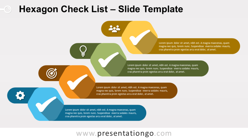 Free Hexagon Check List for PowerPoint and Google Slides